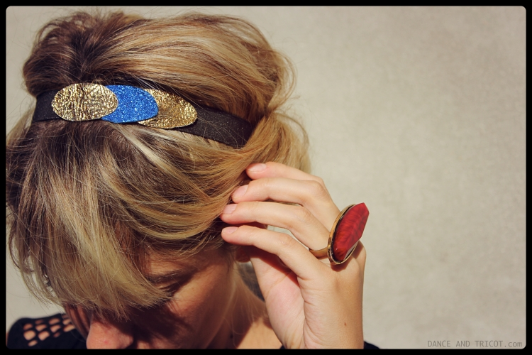 hedband paillettes cuir