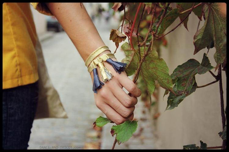 bracelet pompons et cuir